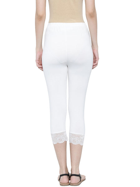 De Moza Ladies Leggings 3/4th Leggings Viscose Lycra White - De Moza