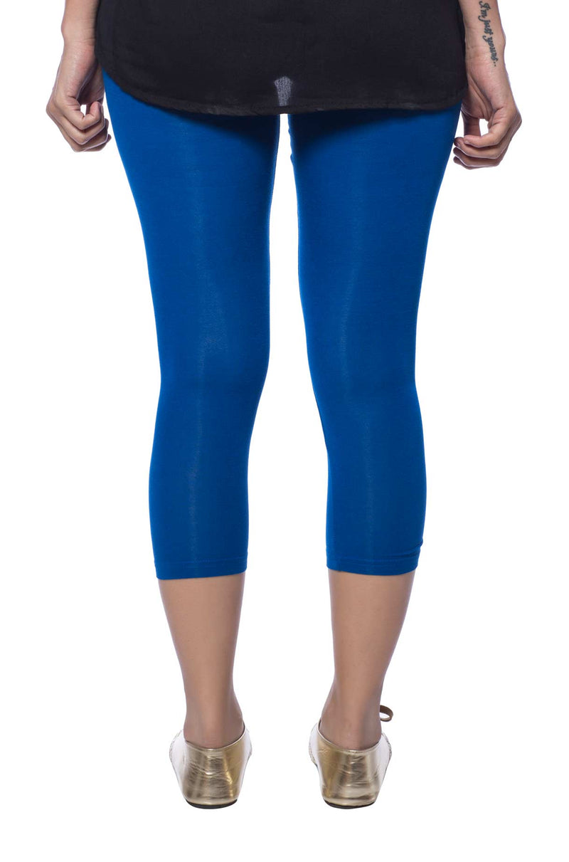 de moza women's capri leggings viscose cobalt