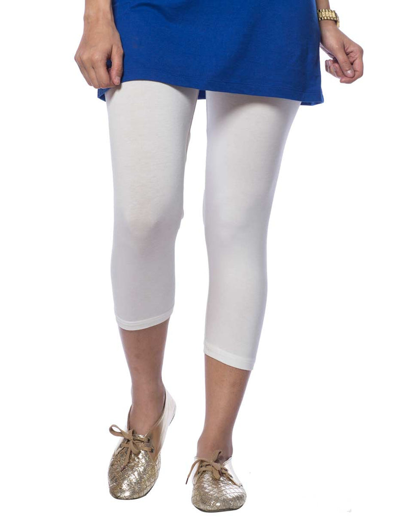 de moza women's capri leggings viscose off white