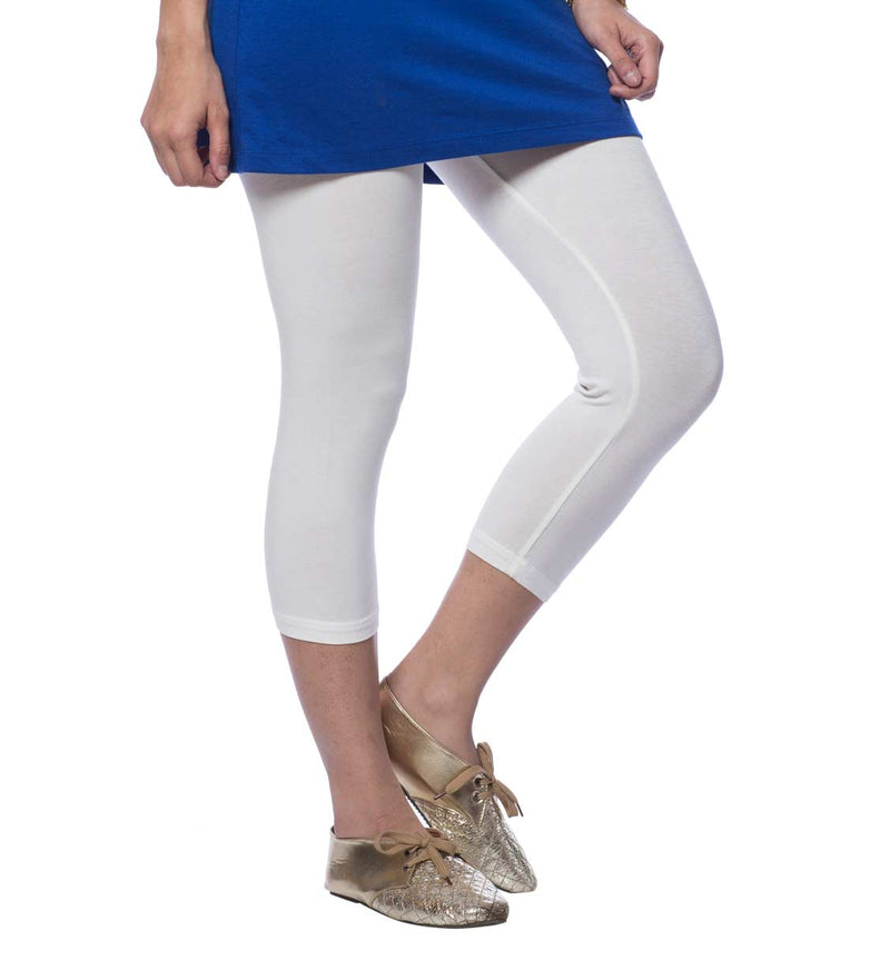 de moza women's capri leggings viscose white