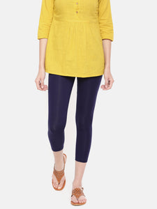 De Moza Women's Leggings 3/4Th Length Solid Viscose Dark Navy Blue - De Moza