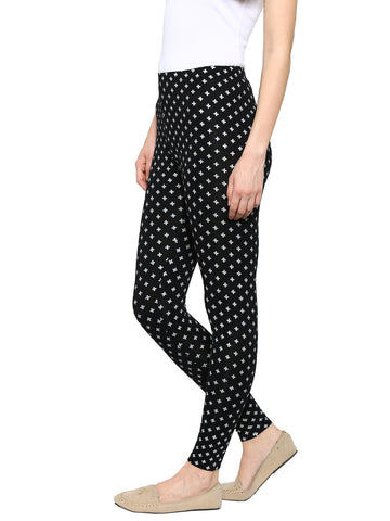 De Moza Ladies Leggings Ankle Length Viscose Black