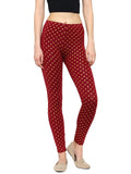 De Moza Ladies Leggings Ankle Length Printed Viscose Wine XXL