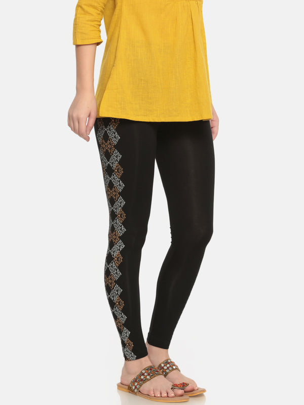 De Moza Ladies Printed Ankle Length Leggings Black - De Moza