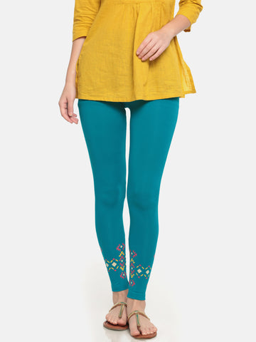 De Moza Ladies Viscose Ankle Length Placement print Legging Teal - De Moza