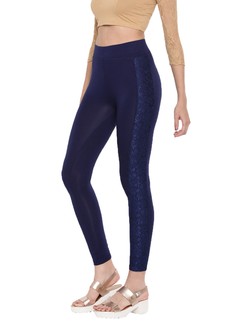 De Moza- Ladies Ankle Length Leggings Dark Navy Blue - De Moza
