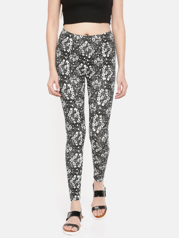De Moza-Ladies Printed Ankle Length Leggings Black - De Moza