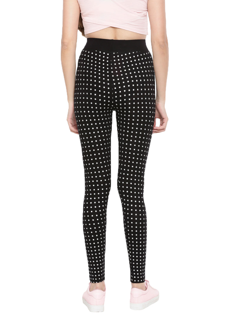 De Moza Ladies Ankle Length Leggings - AOP Black - De Moza