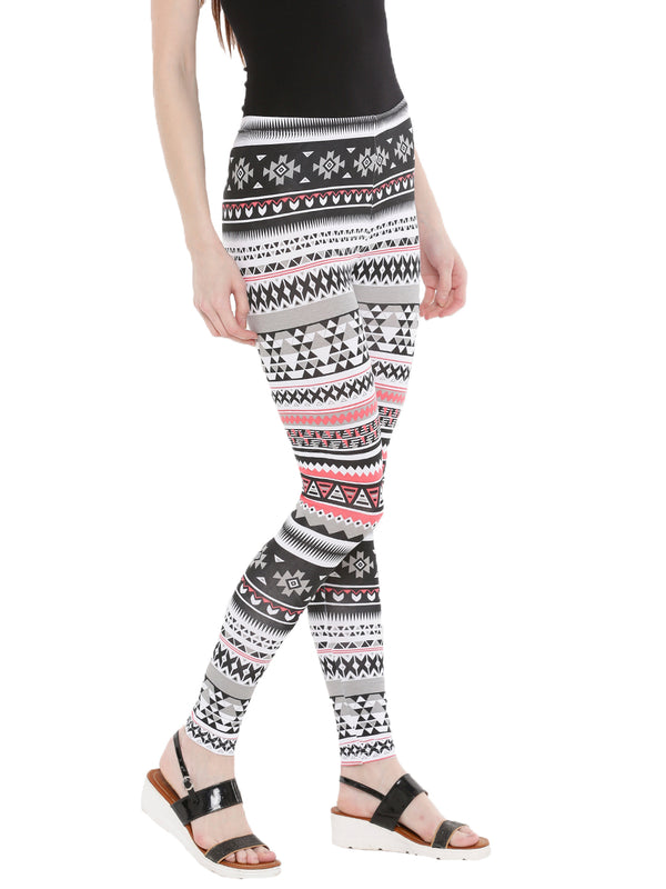 De Moza- Ladies Printed Ankle Length Leggings White - De Moza