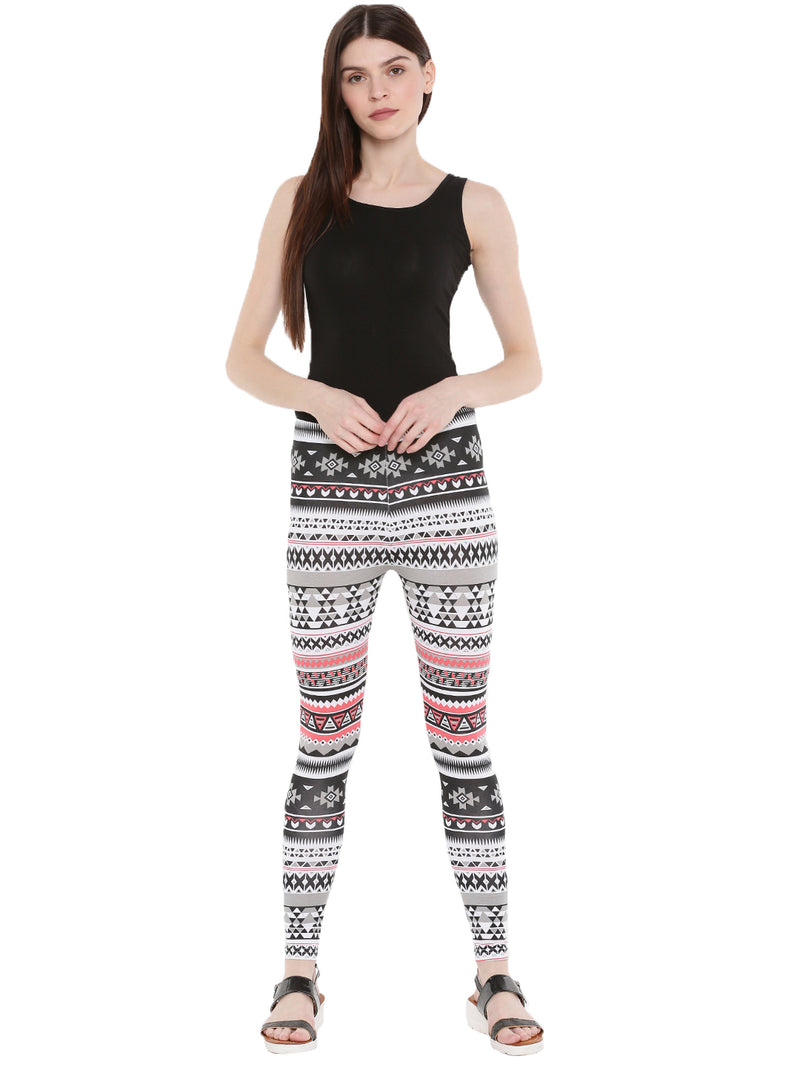 De Moza Ladies Ankle Length Leggings All Over Print White - De Moza