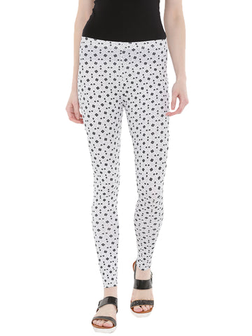 De Moza- Ladies Printed Ankle Length Leggings Dark Grey - De Moza