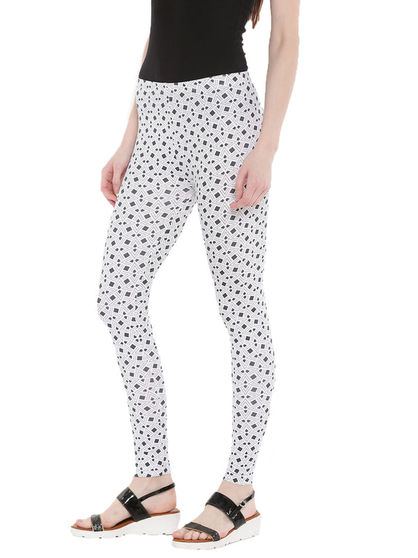 De Moza Ladies Ankle Length Leggings All Over Print Dark Grey - De Moza