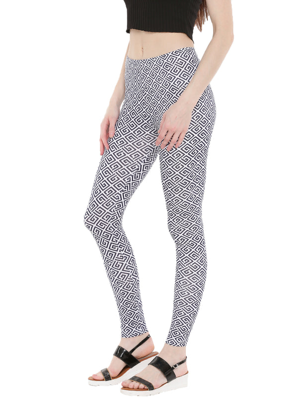 De Moza Ladies Ankle Length Leggings All Over Print Dark Navy Blue - De Moza