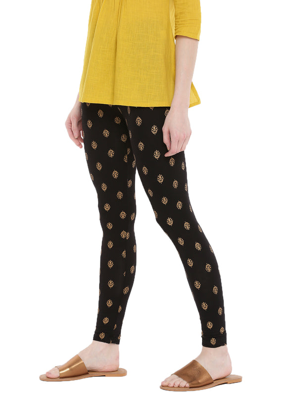 De Moza Ladies Ankle Length Leggings All Over Print Black - De Moza