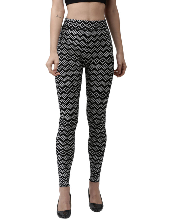 De Moza Ladies Printed Leggings Black
