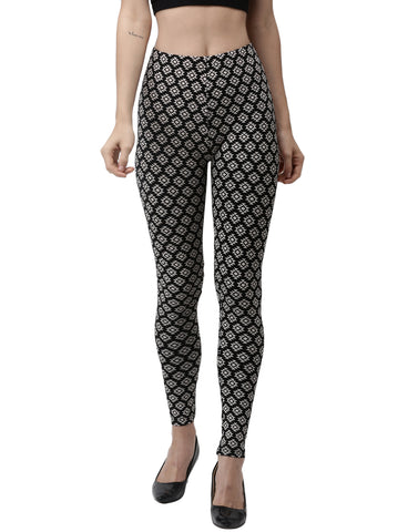 De Moza Ladies Printed Leggings Black - De Moza
