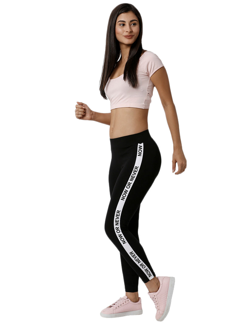 De Moza Ladies Printed Black Active Wear - De Moza