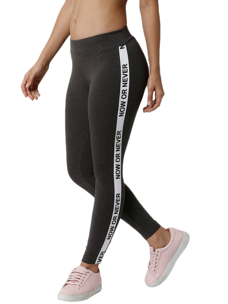 De Moza Ladies Printed Anthra Melange Active Wear - De Moza