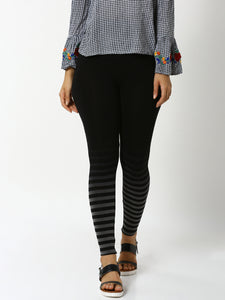 De Moza - Ladies Placement Print Ankle Length Leggings Black - De Moza