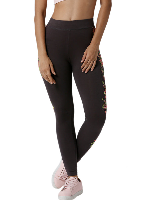 De Moza Ladies Printed Dark Grey Active Wear - De Moza