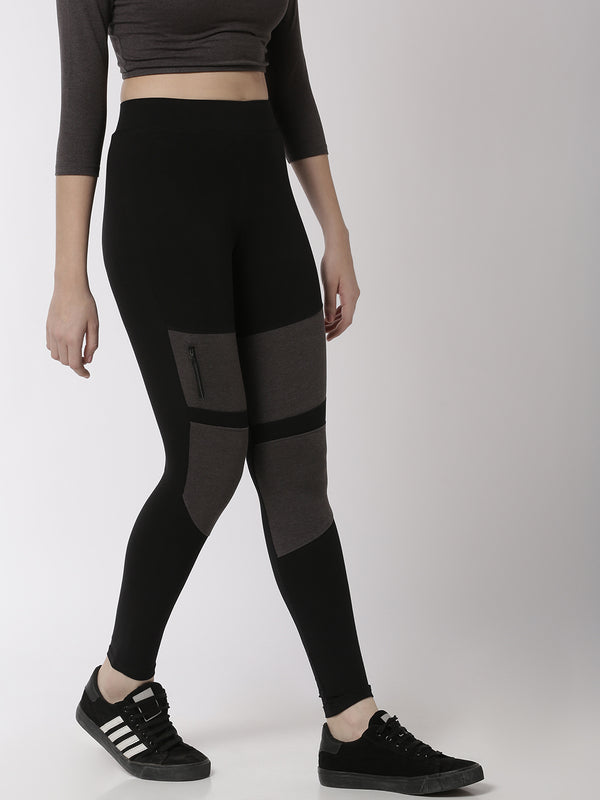 De Moza Ladies Ankle Length Leggings Cut & Sew Cotton Black - De Moza