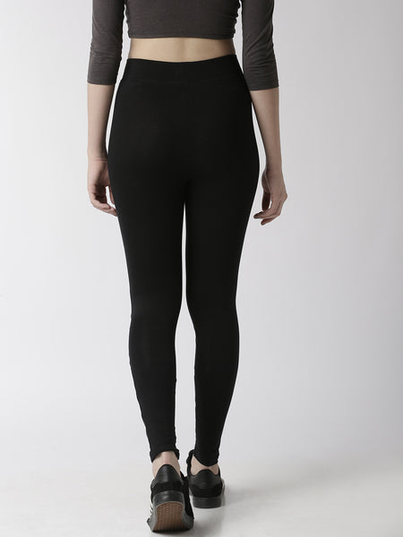 De Moza Women's Ankle Length Leggings  Cotton Black - De Moza