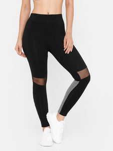 De Moza Women Sporty Ankle Length Leggings Solid Cotton Black - De Moza