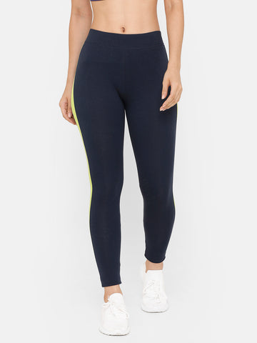 De Moza Women Sporty Ankle Length Leggings Solid Cotton Dark Navy Blue - De Moza