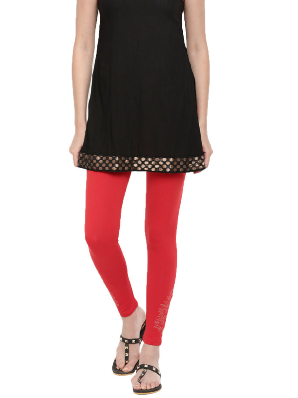 De Moz- Ladies Printed Ankle Length Leggings Red - De Moza