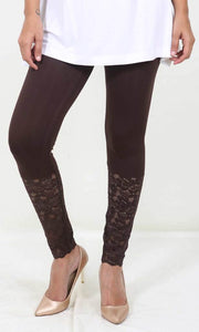 De Moza Ladies Leggings Ankle Length Viscose Lycra Brown - De Moza
