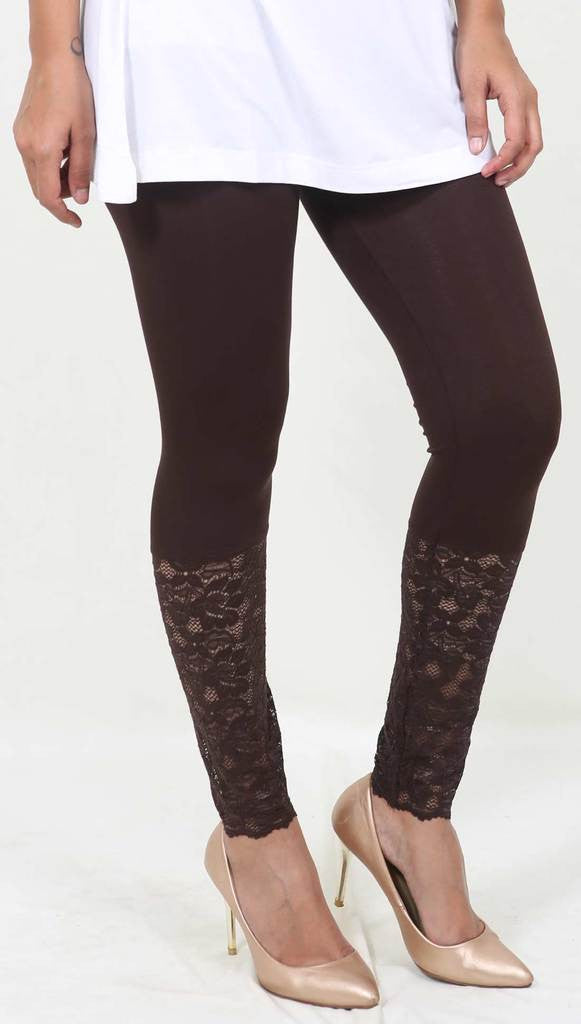 De Moza Ladies Ankle Length Leggings Brown - De Moza