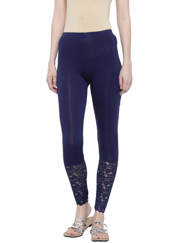 De Moza Ladies Leggings Ankle Length Viscose Lycra Navy Blue - De Moza
