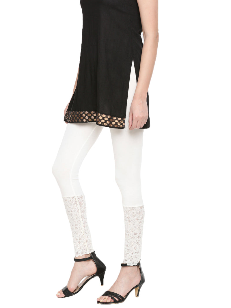 De Moza Ladies  Ankle Length Lace Leggings Viscose Lycra Offwhite - De Moza