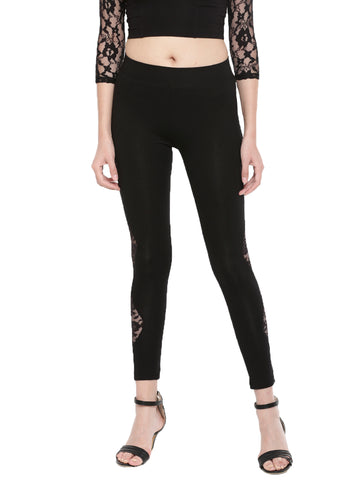 De Moza Ladies Ankle Length Leggings Lace Cotton Black - De Moza