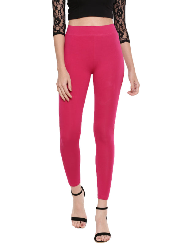 De Moza Ladies Printed Ankle Length Leggings Fuchsia - De Moza
