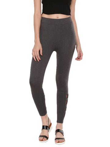 De Moza Ladies Ankle Length Leggings Mesh Cotton Anthra Melange - De Moza