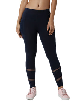 De Moza Ladies Mesh Dark Navy Blue Phone Pocket Active Wear - De Moza