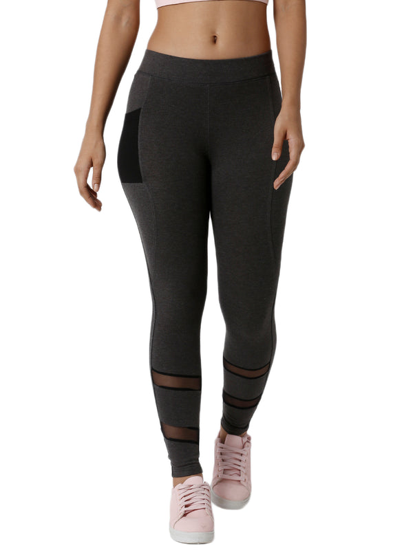 De Moza Ladies Mesh Anthra Melange Phone Pocket Active Wear - De Moza
