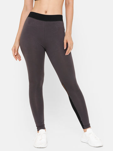 De Moza Women Sporty Ankle Length Leggings Cotton Dark Grey - De Moza