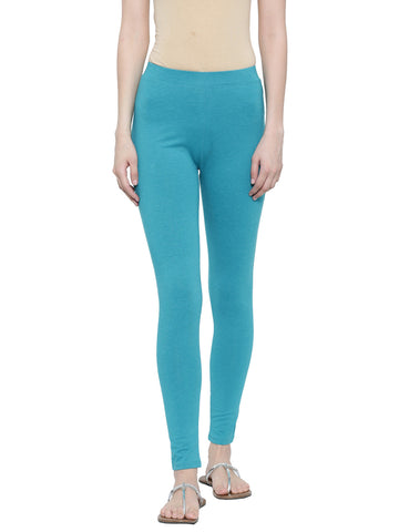 De Moza Ladies Leggings Ankle Length Solid Cotton Lycra Teal Melange XXL