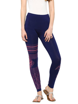 De Moza Ladies Leggings Ankle Length Printed Viscose Lycra Navy Blue with  Pink XXL