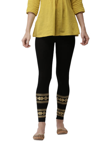 De Moza Ladies Placement Print Leggings Black - De Moza