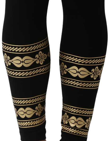 De Moza- Printed Ankle Length Leggings Black - De Moza