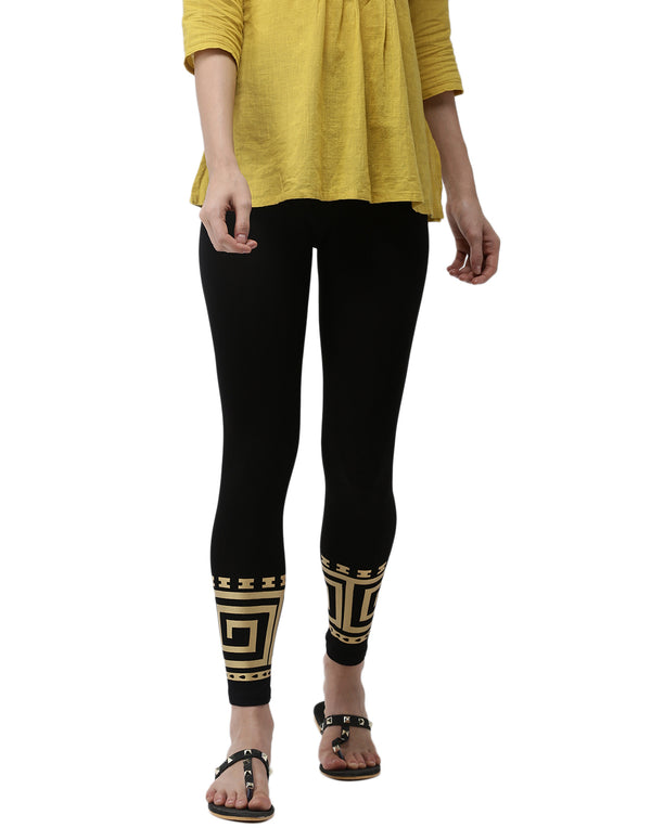 De Moza - Printed Ankle Length Leggings Black - De Moza