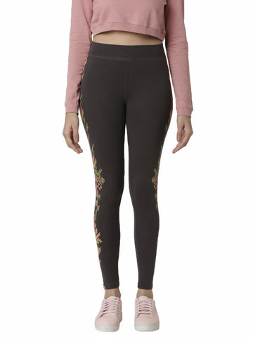 De Moza Women's Printed Ankle Length Leggings  Dark Grey - De Moza