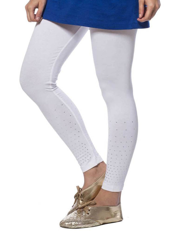 De Moza Ladies Leggings Ankle Length Cotton Lycra Solid White