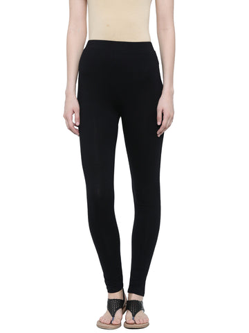 De Moza Ladies Leggings Ankle Length Cotton Lycra Black - De Moza