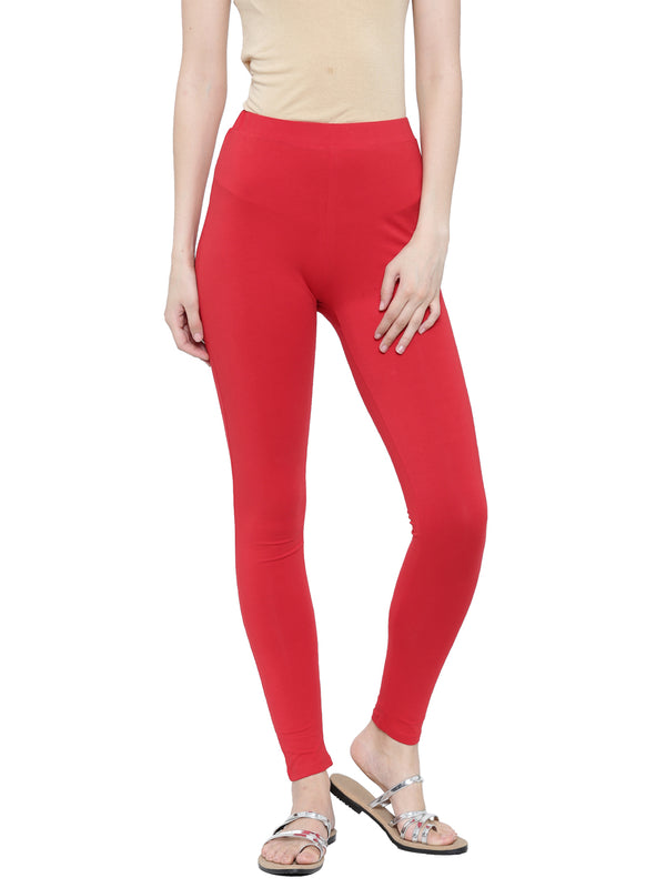 De Moza Ladies Ankle Length - Yoga Leggings Red - De Moza