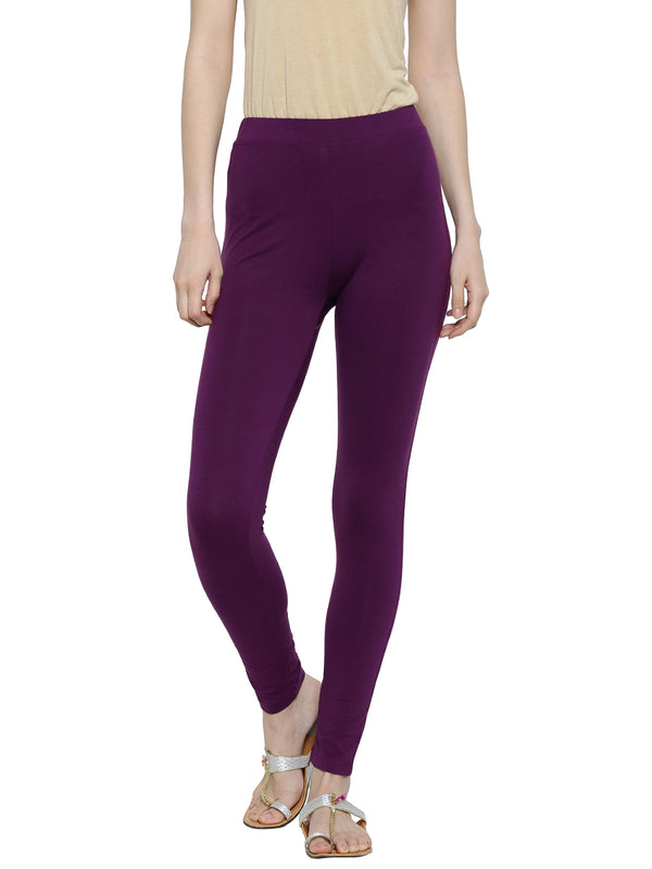 De Moza Ladies Ankle Length - Yoga Leggings Dark Purple - De Moza