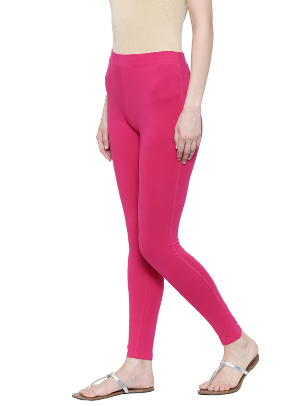 De Moza Ladies Ankle Length - Yoga Leggings Fuchsia - De Moza